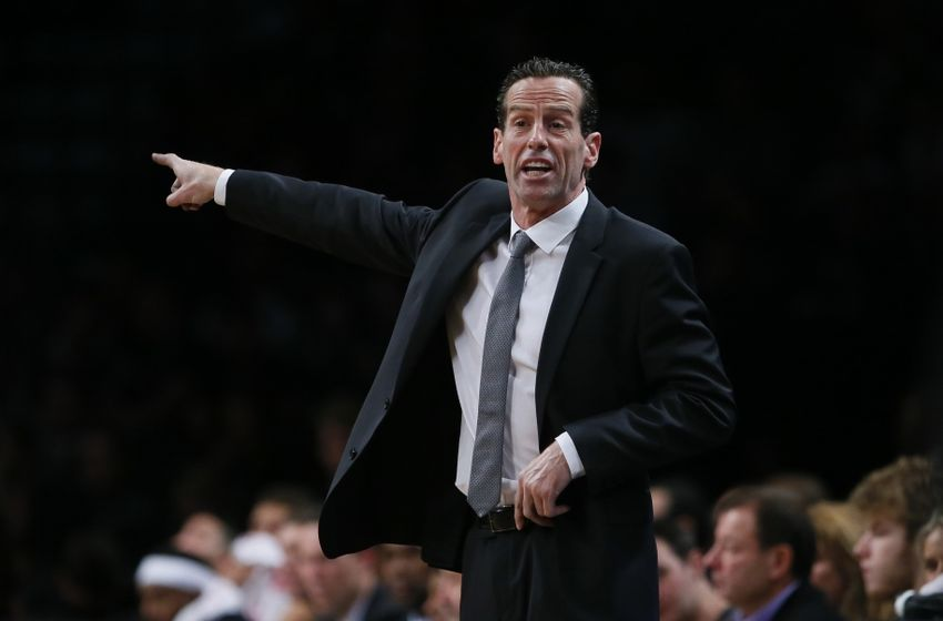 Oct 28, 2016; Brooklyn, NY, USA; Brooklyn Nets head coach Kenny Atkinson reacts during first half against Indiana Pacers at Barclays Center. Mandatory Credit: Noah K. Murray-USA TODAY Sports