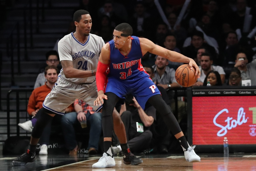 Nov 2, 2016; Brooklyn, NY, USA; Detroit Pistons forward Tobias Harris (34) drives against Brooklyn Nets guard Rondae Hollis-Jefferson (24) during the fourth quarter at Barclays Center. Brooklyn Nets won 109-101. Mandatory Credit: Anthony Gruppuso-USA TODAY Sports