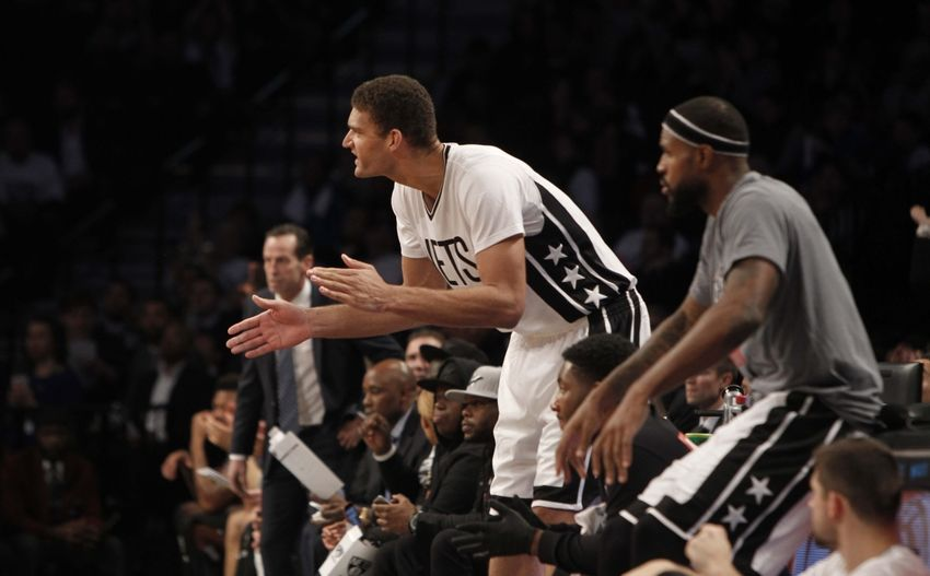 Nov 4, 2016; Brooklyn, NY, USA; Brooklyn Nets center Brook Lopez (11) reacts in the fourth quarter against Charlotte Hornets at Barclays Center. Hornets win 99-95. Mandatory Credit: Nicole Sweet-USA TODAY Sports
