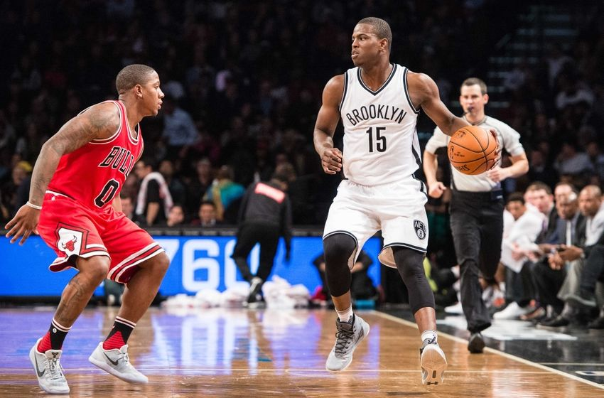 Oct 31, 2016; Brooklyn, NY, USA; Brooklyn Nets guard Isaiah Whitehead (15) brings the ball up the court and is defended by Chicago Bulls guard Isaiah Canaan (0) during the game at Barclays Center. The Bulls won 118-88 Mandatory Credit: Dennis Schneidler-USA TODAY Sports