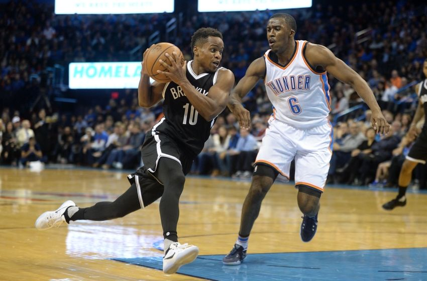 Nov 18, 2016; Oklahoma City, OK, USA; Brooklyn Nets guard Yogi Ferrell (10) drives to the basket against Oklahoma City Thunder guard Semaj Christon (6) during the second quarter at Chesapeake Energy Arena. Mandatory Credit: Mark D. Smith-USA TODAY Sports