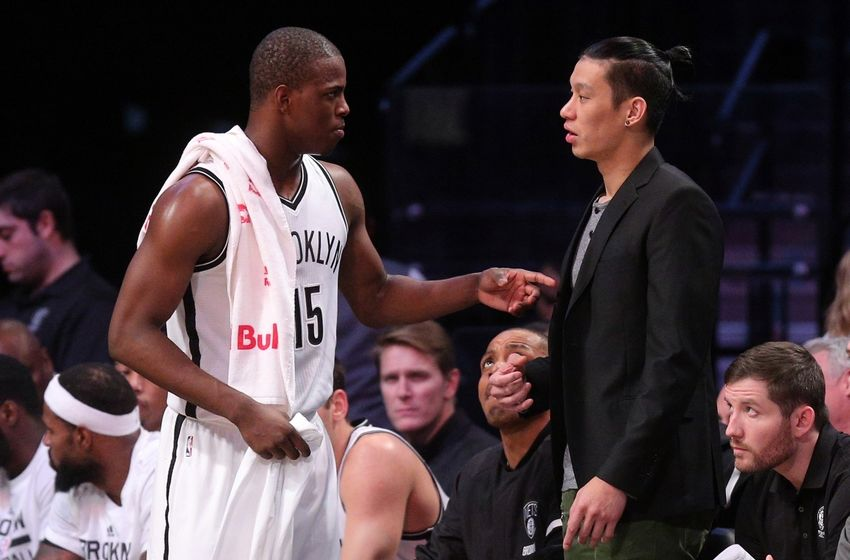 Nov 23, 2016; Brooklyn, NY, USA; Brooklyn Nets point guard Isaiah Whitehead (15) talks to point guard Jeremy Lin (7) during the first quarter against the Boston Celtics at Barclays Center. Mandatory Credit: Brad Penner-USA TODAY Sports