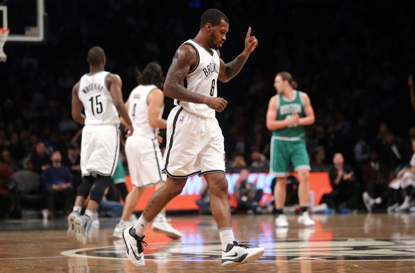 Nov 23, 2016; Brooklyn, NY, USA; Brooklyn Nets shooting guard Sean Kilpatrick (6) reacts during the fourth quarter against the Boston Celtics at Barclays Center. Mandatory Credit: Brad Penner-USA TODAY Sports
