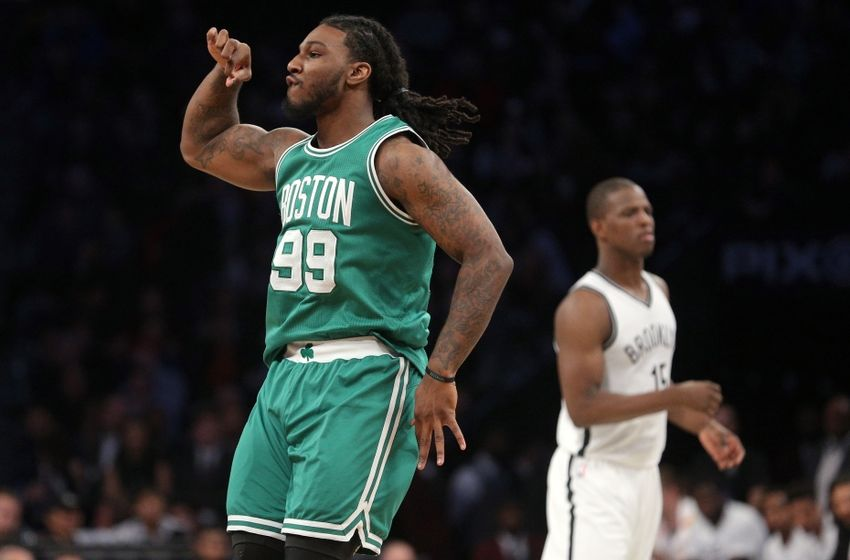 Nov 23, 2016; Brooklyn, NY, USA; Boston Celtics small forward Jae Crowder (99) reacts after hitting a three point shot against the Brooklyn Nets during the fourth quarter at Barclays Center. Mandatory Credit: Brad Penner-USA TODAY Sports