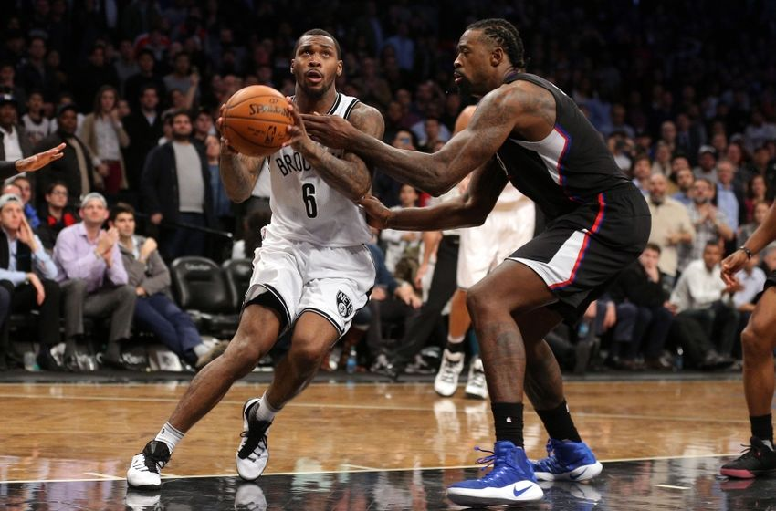 Nov 29, 2016; Brooklyn, NY, USA; Brooklyn Nets shooting guard Sean Kilpatrick (6) drives against Los Angeles Clippers center DeAndre Jordan (6) during the second overtime at Barclays Center. Mandatory Credit: Brad Penner-USA TODAY Sports