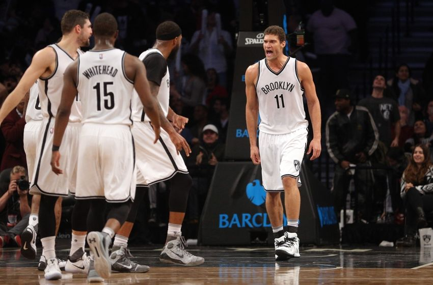 Nov 29, 2016; Brooklyn, NY, USA; Brooklyn Nets center Brook Lopez (11) reacts with teammates during the fourth quarter against the Los Angeles Clippers at Barclays Center. Mandatory Credit: Brad Penner-USA TODAY Sports
