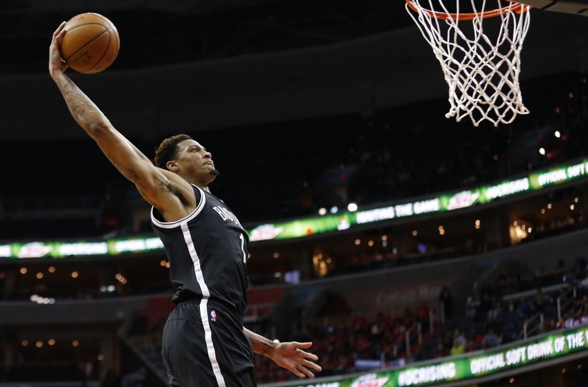 Apr 6, 2016; Washington, DC, USA; Brooklyn Nets forward Chris McCullough (1) dunks the ball against the Washington Wizards in the third quarter at Verizon Center. The Wizards won 121-103. Mandatory Credit: Geoff Burke-USA TODAY Sports