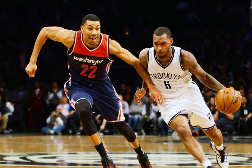 Dec 5, 2016; Brooklyn, NY, USA; Brooklyn Nets guard sean Kilpatrick (6) dribbles the ball while being defended by Washington Wizards forward Otto Porter Jr. (22) during the second half at Barclays Center. The Wizards won 118-113. Mandatory Credit: Andy Marlin-USA TODAY Sports