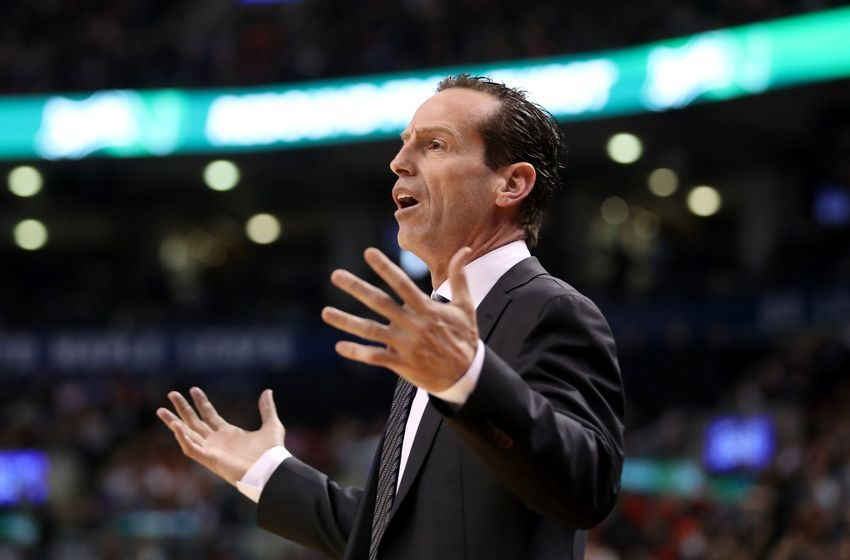 Dec 20, 2016; Toronto, Ontario, CAN; Brooklyn Nets head coach Kenny Atkinson reacts to a call against the Toronto Raptors at Air Canada Centre. The Raptors beat the Nets 116-104. Mandatory Credit: Tom Szczerbowski-USA TODAY Sports