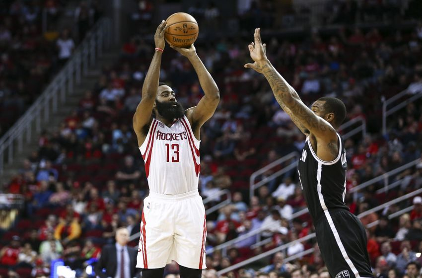 Dec 12, 2016; Houston, TX, USA; Houston Rockets guard James Harden (13) shoot the ball over Brooklyn Nets guard Sean Kilpatrick (6) during the second quarter at Toyota Center. Mandatory Credit: Troy Taormina-USA TODAY Sports