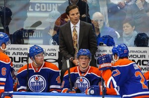 Oct 1, 2013; Edmonton, Alberta, CAN; Edmonton Oilers head coach Dallas Eakins on his bench against the Winnipeg Jets during the first period at Rexall Place. Mandatory Credit: Sergei Belski-USA TODAY Sports