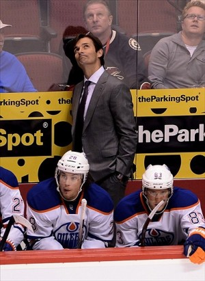 NHL: Edmonton Oilers at Phoenix CoyotesOct 26, 2013; Glendale, AZ, USA; Edmonton Oilers head coach Dallas Eakins reacts from the bench against the Phoenix Coyotes in the third period at Jobing.com Arena. The Coyotes defeated the Oiler 5-4. Mandatory Credit: Jennifer Stewart-USA TODAY Sports