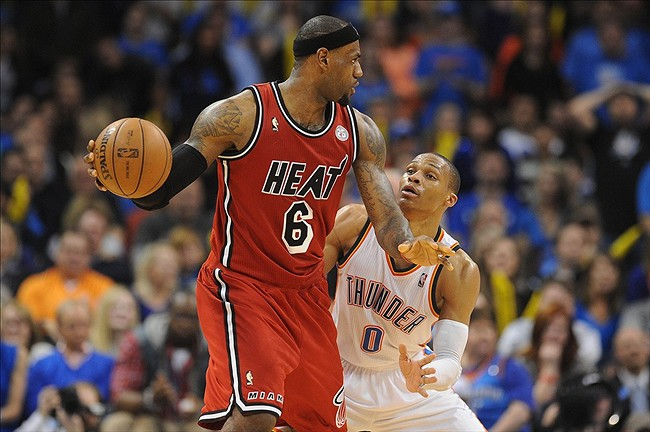 Heat forward LeBron James Russell Westbrook And Lebron James