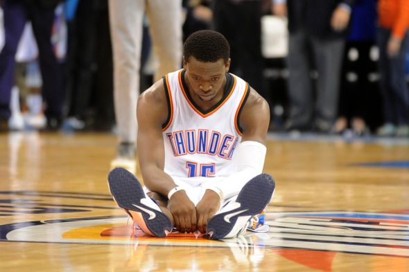 Nov 21, 2014; Oklahoma City, OK, USA; Oklahoma City Thunder guard Reggie Jackson (15) reacts after losing to the Brooklyn Nets at Chesapeake Energy Arena. The Nets defeated the Thunder 94-92. Mandatory Credit: Mark D. Smith-USA TODAY Sports