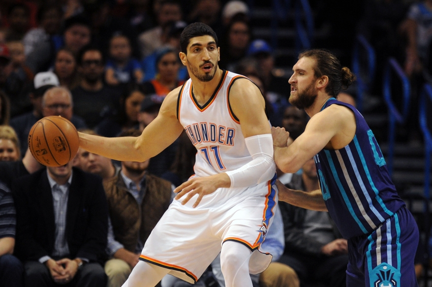 Jan 20, 2016; Oklahoma City, OK, USA; Oklahoma City Thunder center Enes Kanter (11) drives to the basket against Charlotte Hornets forward Spencer Hawes (00) during the second quarter at Chesapeake Energy Arena. Mandatory Credit: Mark D. Smith-USA TODAY Sports