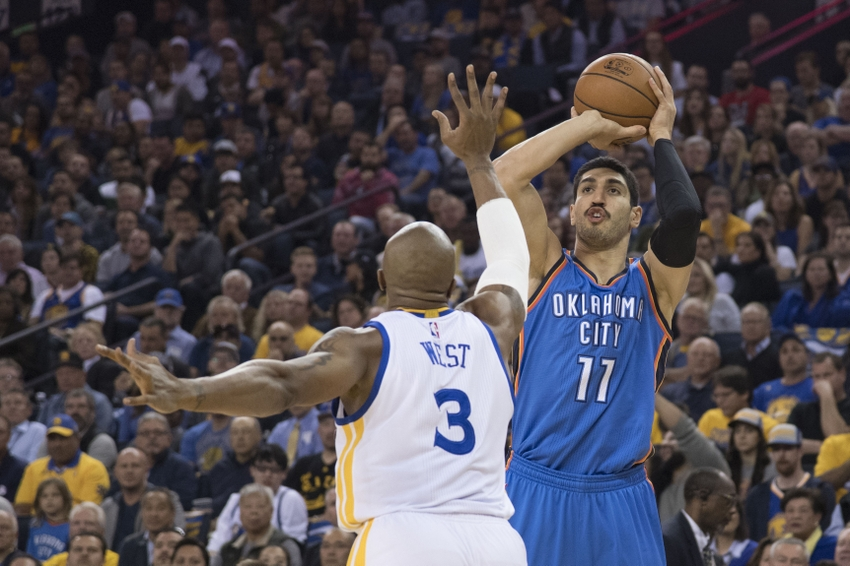 November 3, 2016; Oakland, CA, USA; Oklahoma City Thunder center Enes Kanter (11) shoots the basketball against Golden State Warriors forward David West (3) during the first quarter at Oracle Arena. Mandatory Credit: Kyle Terada-USA TODAY Sports