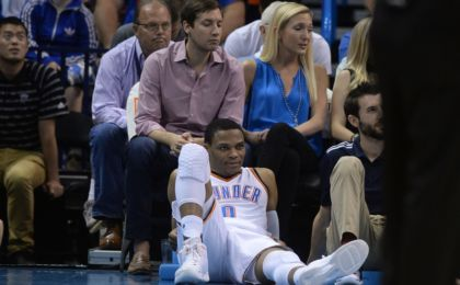 Nov 5, 2016; Oklahoma City, OK, USA; Oklahoma City Thunder guard Russell Westbrook (0) watches his team play against the Minnesota Timberwolves during the fourth quarter at Chesapeake Energy Arena. Mandatory Credit: Mark D. Smith-USA TODAY Sports