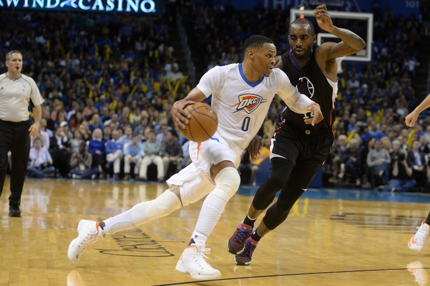 Nov 11, 2016; Oklahoma City, OK, USA; Oklahoma City Thunder guard Russell Westbrook (0) drives to the basket against LA Clippers forward Luc Mbah a Moute (12) during the fourth quarter at Chesapeake Energy Arena. Mandatory Credit: Mark D. Smith-USA TODAY Sports