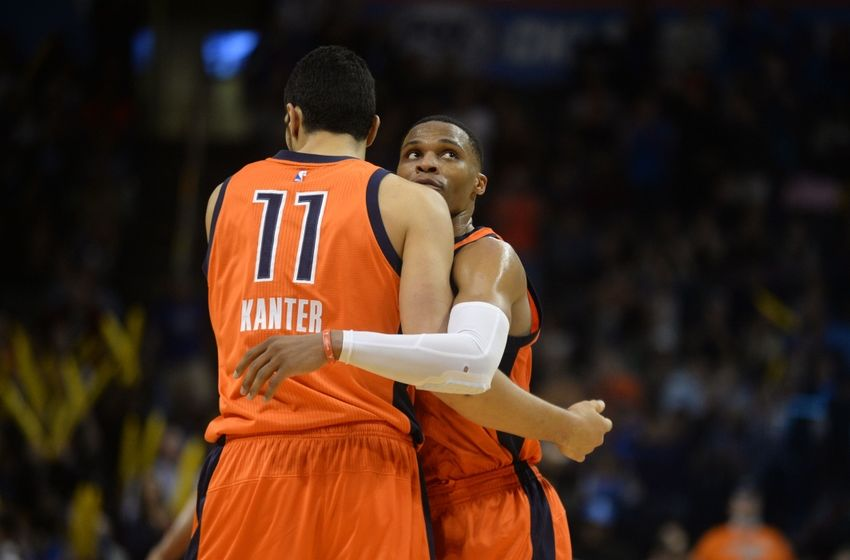Nov 13, 2016; Oklahoma City, OK, USA; Oklahoma City Thunder center Enes Kanter (11) and Oklahoma City Thunder guard Russell Westbrook (0) react after a play against the Orlando Magic during the third quarter at Chesapeake Energy Arena. Mandatory Credit: Mark D. Smith-USA TODAY Sports