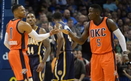 Nov 20, 2016; Oklahoma City, OK, USA; Oklahoma City Thunder guard Russell Westbrook (0) and Oklahoma City Thunder guard Victor Oladipo (5) react after a play against the Indiana Pacers during the second quarter at Chesapeake Energy Arena. Mandatory Credit: Mark D. Smith-USA TODAY Sports