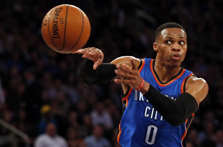 Nov 28, 2016; New York, NY, USA; Oklahoma City Thunder guard Russell Westbrook (0) passes the ball during the first half against the New York Knicks at Madison Square Garden. Mandatory Credit: Adam Hunger-USA TODAY Sports