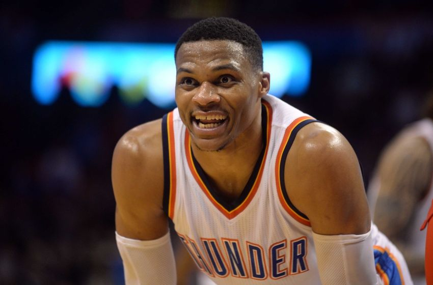 Nov 30, 2016; Oklahoma City, OK, USA; Oklahoma City Thunder guard Russell Westbrook (0) reacts after a play against the Washington Wizards during overtime at Chesapeake Energy Arena. Mandatory Credit: Mark D. Smith-USA TODAY Sports