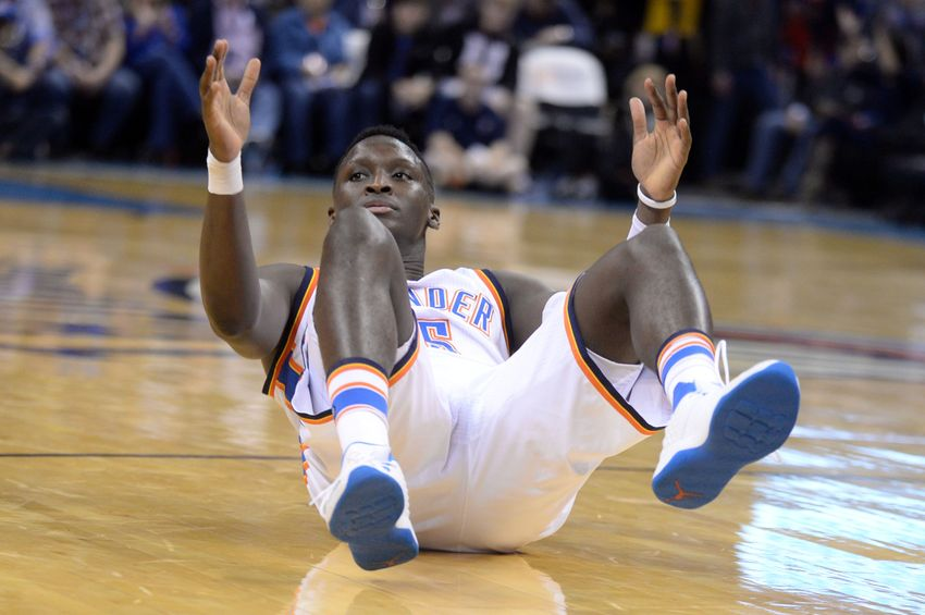 Dec 31, 2016; Oklahoma City, OK, USA; Oklahoma City Thunder guard Victor Oladipo (5) falls to the floor after being fouled against the Los Angeles Clippers during the third quarter at Chesapeake Energy Arena. Mandatory Credit: Mark D. Smith-USA TODAY Sports