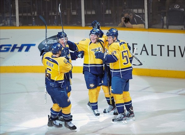 Patric Horqvist and the Nashville Predators celebrate