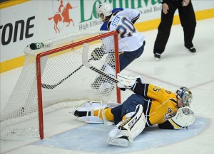 Nashville Predators goalie Pekka Rinne, beaten by Alex Steen of St. Louis