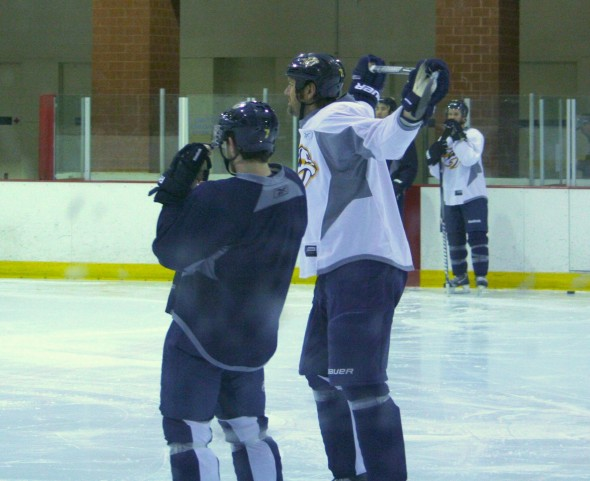 Nashville Predators defensemen Hal Gill and Jon Blum at training camp