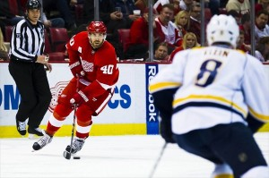 Detroit Red Wings forward Henrik Zetterberg was scoreless in his first game against the Nashville Predators this season