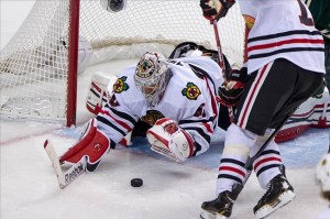 Corey Crawford faces the Nashville Predators