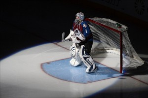 Semyon Varlamov takes on the Nashville Predators