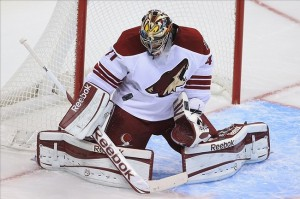 Phoenix Coyotes goalie Mike Smith faces the Nashville Predators