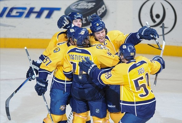 Nashville Predators captain Shea Weber finally scored a goal last night