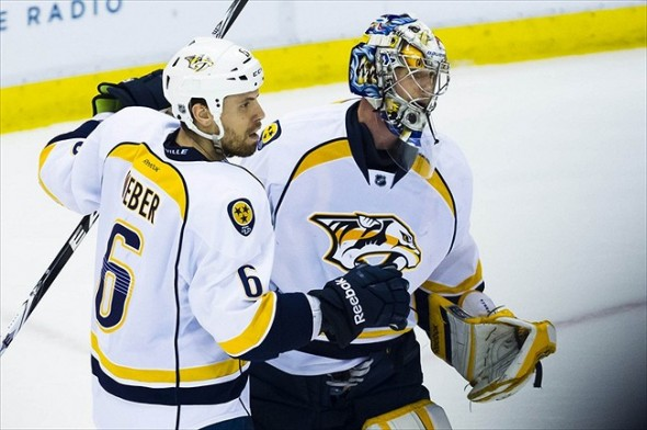 Captain Shea Weber and goalie Pekka Rinne of the Nashville Predators
