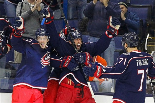 Columbus Blue Jackets forward Vinny Prospal celebrates a goal