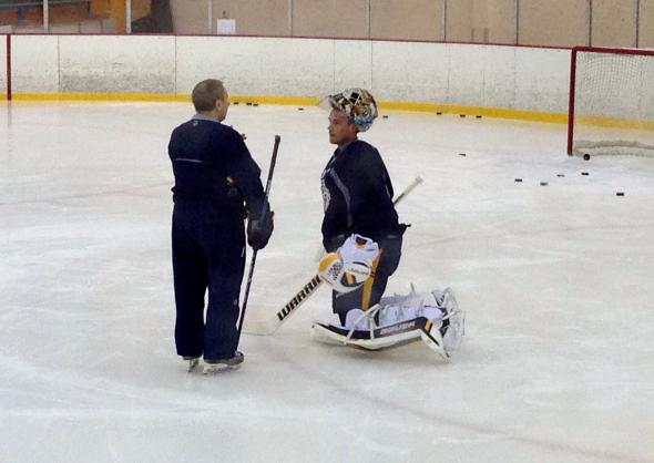 Predators Rinne practicing in full pads today at Nashville's practice. 02-07-14. Credit: Thomas Willis
