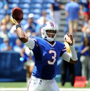 Aug 11, 2013; Indianapolis, IN, USA; Buffalo Bills quarterback EJ Manuel (3) throws a pass during the first half against the Indianapolis Colts at Lucas Oil Stadium. Mandatory Credit: Thomas J. Russo-USA TODAY Sports