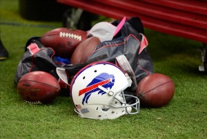 Oct. 14, 2012; Glendale, AZ, USA; Detailed view of a Buffalo Bills helmet and footballs on the sidelines against the Arizona Cardinals at University of Phoenix Stadium. Mandatory Credit: Mark J. Rebilas-USA TODAY Sports
