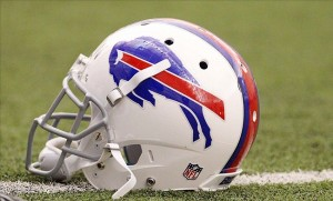 May 14, 2013; Orchard Park, NY, USA; A general view of a Buffalo Bills helmet used during organized team activities at Bills Healthy Zone Fieldhouse. Mandatory Credit: Timothy T. Ludwig-USA TODAY Sports