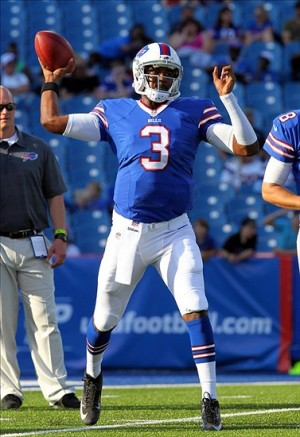 Aug 16, 2013; Orchard Park, NY, USA; Buffalo Bills quarterback EJ Manuel (3) throws a pass before a game against the Minnesota Vikings at Ralph Wilson Stadium. Mandatory Credit: Timothy T. Ludwig-USA TODAY Sports