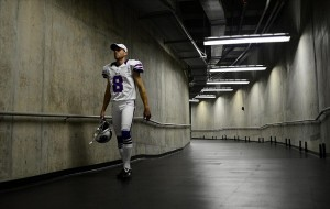 Aug 30, 2012; Detroit, MN, USA; Buffalo Bills punter Brian Moorman (8) walks to the field prior to the game against the Detroit Lions in a preseason game at Ford Field. Mandatory Credit: Andrew Weber-US Presswire