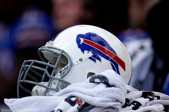 Oct 20, 2013; Miami Gardens, FL, USA; Detail shot of a Buffalo Bills helmet and gatorade towel in the second quarter of a game at Sun Life Stadium. Mandatory Credit: Robert Mayer-USA TODAY Sports