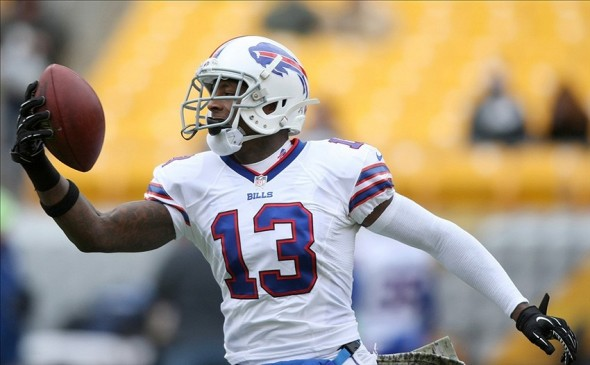 Nov 10, 2013; Pittsburgh, PA, USA; Buffalo Bills wide receiver Stevie Johnson (13) catches the ball during warm-ups prior to the game against the Pittsburgh Steelers at Heinz Field. Mandatory Credit: Jason Bridge-USA TODAY Sports