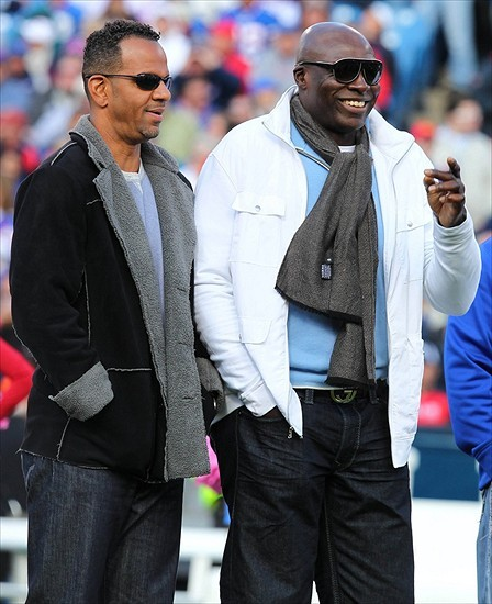 Oct. 21, 2012; Orchard Park, NY, USA; Former Buffalo Bills players Andre Reed (left) and Bruce Smith (right) during a halftime show between the Buffalo Bills and the Tennessee Titans at Ralph Wilson Stadium. Mandatory Credit: Timothy T. Ludwig-USA TODAY Sports