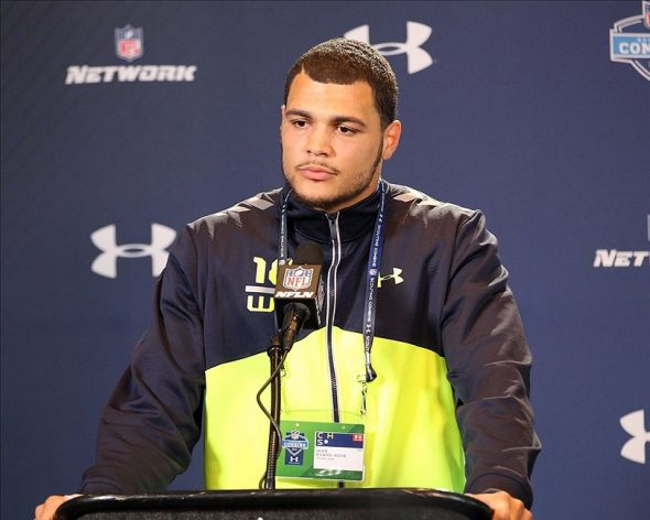 Feb 22, 2014; Indianapolis, IN, USA; Texas A&M wide receiver Mike Evans speaks at the NFL Combine at Lucas Oil Stadium. Mandatory Credit: Pat Lovell-USA TODAY Sports