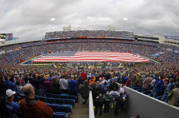 Nov 17, 2013; Orchard Park, NY, USA; The American Flag on the field before a gam,e between the Buffalo Bills and the New York Jets at Ralph Wilson Stadium. Mandatory Credit: Timothy T. Ludwig-USA TODAY Sports