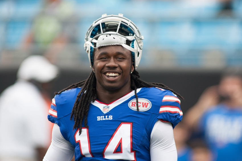 Aug 8, 2014; Charlotte, NC, USA; Buffalo Bills wide receiver Sammy Watkins (14) stands on the field prior to the start of the game against the Carolina Panthers at Bank of America Stadium. Mandatory Credit: Jeremy Brevard-USA TODAY Sports