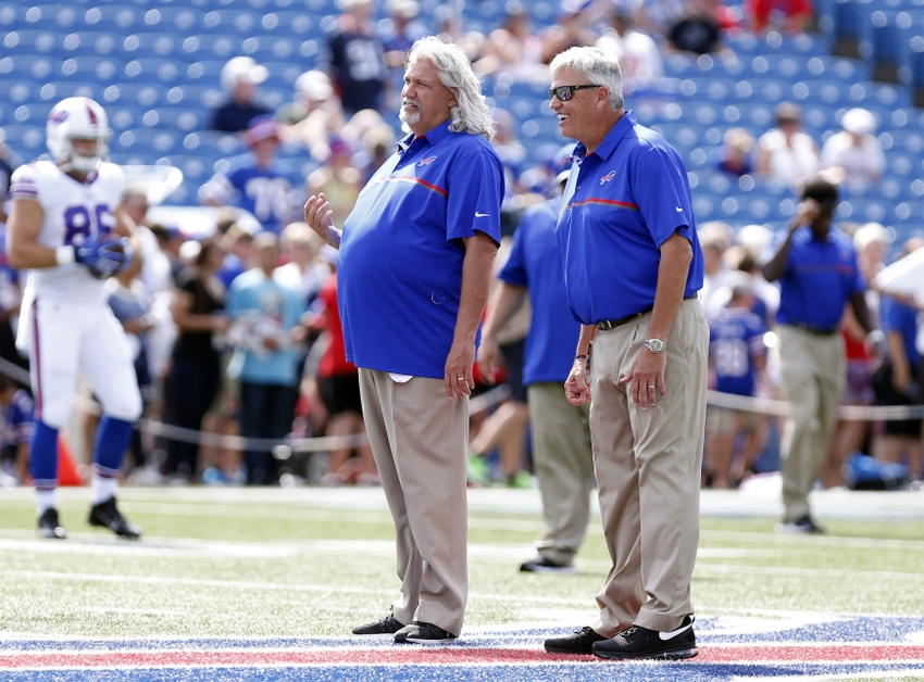 Aug 20, 2016; Orchard Park, NY, USA; Buffalo Bills assistant head coach/defense Rob Ryan (left) and head coach Rex Ryan on the field before the game against the New York Giants at New Era Field. Mandatory Credit: Kevin Hoffman-USA TODAY Sports